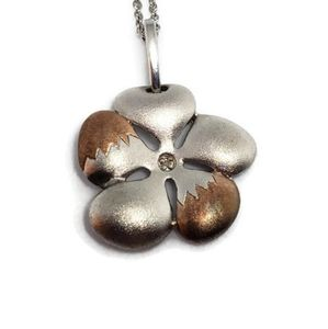 Sterling Silver Genuine Diamond Flower Necklace